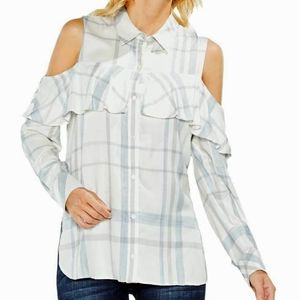 Vince Camuto Button Down Cold Shoulder Top Small